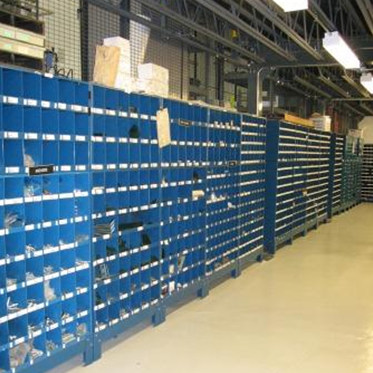 An image of the CEEM storeroom showing numerous storage racks.
